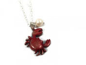 The Vintage Pearl Cutie Crab Red Crab Charm Necklace
