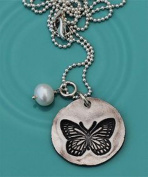 The Vintage Pearl Miracles Happen Butterfly Disc Charm Necklace