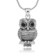 925 Oxidised Sterling Silver Vintage Detail Black Eyes Owl Tree Branch Pendant Necklace, 46cm