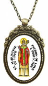 St Augustine of Hippo Patron of Love and Protection Huge 5.1cm Antique Bronze Gold Pendant