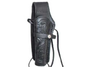 Hand-Tooled Leather Holster, 6, Black, Left Hand