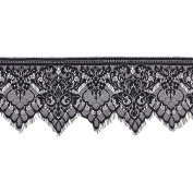 3 Yards Black Floral Lace Trim Single Scalloped Edge 19cm Good Crafted DIY Ideas