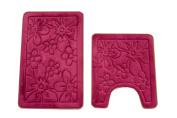 maiija Non-slip Embossed Memory Foam Contour Bathmat Set (50cm x 60cm +50cm x 80cm )_Flower