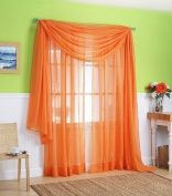 LuxuryDiscounts Beautiful Elegant Solid Orange Sheer Scarf Valance Topper 100cm X 550cm Long Window Treatment Scarves