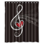 CozyBath Music Notes Waterproof Polyester Fabric 150cm (w) x 180cm (h) Shower Curtain and Hooks