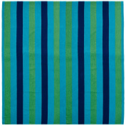 Cotton Craft - Beach Towel for Two 60x70 - Beach Blanket - Oversized Jacquard Woven Velour Beach Towel - Thick Luxurious Velour Pile - Cabana Stripe Navy Green Turquoise - 450 grammes 100% Pure Ringspun Cotton - Brilliant intense vibrant colours - High ..