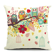 HomeChoice Cotton Linen Durable Home Love Birdcage Owls Family Square Decorative Throw Pillow Cover Accent Cushion Cover Pillow Shell Bed Pillow Case 46cm By 46cm