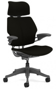 Humanscale Freedom Office Desk Chair with Headrest - Standard Height Adjustable Duron Arms - Titanium Frame Black Wave Fabric - Soft Hard Floor Casters