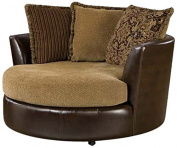 Chelsea Home Furniture Dakota Swivel Chair, Tote Saddle/Cosy Burlap