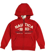 Nautica Boys Red Maritime Products Zip Up Hoodie