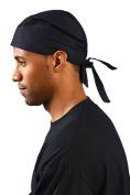 1EA-Tie Hat Doo Rag - 100% Cotton - BLACK-One-Size