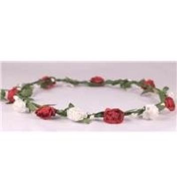 boho floral head garland flower headband floral headdress wedding festival (red and white)