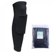 AGPtEK Strengthen Kneepad Honeycomb Pad Crashproof Antislip Basketball Leg Knee Long Sleeve Protective Pad(Black, L size