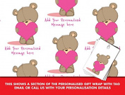 Happy Birthday Personalised Wrapping Paper Cute Bear Teddy Heart - 590mm x 840mm