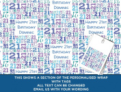 Blue Happy 21st birthday Personalised Wrapping Paper baby - 590mm x 840mm