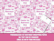 Pink Happy 1st birthday Personalised Wrapping Paper baby - 590mm x 840mm