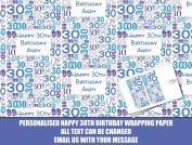 Blue Happy 30th Personalised Wrapping Paper - 590mm x 840mm