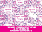 Pink Happy 80th Personalised Wrapping Paper - 590mm x 840mm