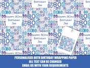 Blue Happy 80th Personalised Wrapping Paper - 590mm x 840mm