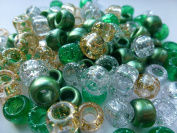 250 x OPAQUE Pony Beads 9mm x 6mm GREEN GLITTER SPARKLE MIX - Bracelets Braiding Loom Bands Dummy Clips Hair Colour Acrylic Plastic Barrel Round Jewellery Findings - Beads and Charms