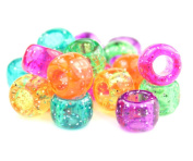 250 x Pony Beads 9mm x 6mm JELLY SPARKLE MIX - Bracelets Braiding Loom Bands Dummy Clips Hair Colour Acrylic Plastic Barrel Round Jewellery Findings - Beads and Charms