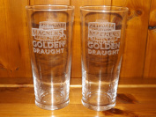 MAGNERS EXTRA COLD GOLDEN DRAUGHT PINT GLASS x 2. A PAIR OF MAGNERS EXTRA COLD GOLDEN DRAUGHT PINT GLASSES