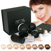 MEDIUM SKIN Luxury Mineral Makeup Boxed Starter Gift Set Kit : Bare Skin Minerals by NCinc. + Kabuki Brush. Minerals Makeup Starter Kit