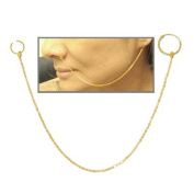 Nose Chain Gold Plated with Hoops