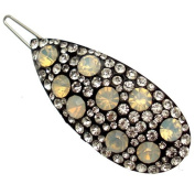 Acosta - Clear & White Opal Crystal - Oval Hair Clip / Slide / Accessory - Gift Boxed