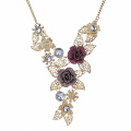Wine Red Rose Gold Plated Hollow Chain Necklace & Earrings Jewellery Set