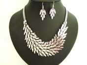 Unusual Chunky Leaf Style Silver Statement Bib Necklace & Earrings Set
