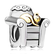 Pugster Cat in Chair Charm Beads Fit Pandora Charm Bead Bracelet
