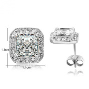 Yoursfs 18K White Gold Plated Simulated Diamond Square Shape Stud Earrings