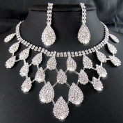 2014 Rhinestone Crystal Necklaces+Earring Hair Stick Bride Jewellery Sets for Bridal Wedding