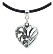 Filigree love heart charm on Premium quality leather choker / necklace
