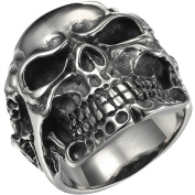 VALYRIA Jewellery Gothic Stainless Steel Skull Biker Men's Ring, Antique Silver