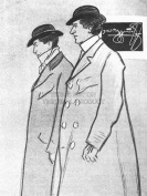 ADVERTISEMENT BEGGARSTAFFS PHIL MAY BLACK WHITE DRAWING TRENCH COAT 30X40 CMS FINE ART PRINT ART POSTER BB7235
