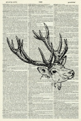 STAG'S HEAD ART PRINT - ART PRINT - WILDLIFE ART PRINT - VINTAGE ART - Illustration - Picture - Vintage Dictionary Art Print - Wall Hanging - Home Décor - Housewares -Book Print - 1D
