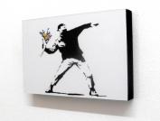 Banksy Flower Thrower Graffiti 15cm X 10cm Block Mounted Print
