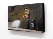 15cm X 10cm (postcard size) Block Mounted Print Banksy Jet Wash Graffiti