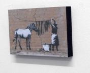 20cm X 30cm Block Mounted Print Banksy zebra stripes Graffiti
