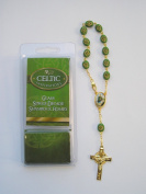 Glass Shamrock - Saint Patrick Single Decade Rosary Beads with Prayer Card.