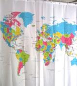 World Map Bath Shower Curtain Waterproof PEVA Bathroom Curtains