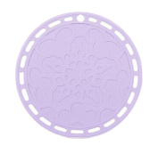 Set of 4 Non-Slip Waterproof Silicone Round Table Placemats Pale Lilac