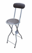 New Quality Folding Breakfast Bar Stool Office Kitchen Parties High Chair Brown & Silver