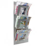 Metallic Silver Wall Mounted Magazine Newspaper Rack by THE METAL HOUSE