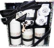 Taccota Spa Ceramic Bath Accessories Gift Set. Pump, Toothbrush Holder, Cup, Towel, Pumice Stone & Bath Fizzers
