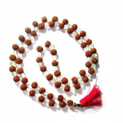 Odishabazaar Rudraksha Rudraksh Clears Crystal Sphatik Japa Mala Rosary 108 + 1 Beads