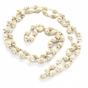 Odishabazaar White Tulsi Beads Mala in Silver Self Design Caps