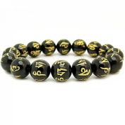 Odishabazaar 12mm Tibetan Black Agate Om Mani Padme Hum Mantra Prayer Bracelet